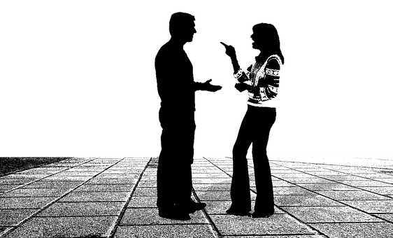 Man and woman arguing. Mindful consumption includes mindful listening